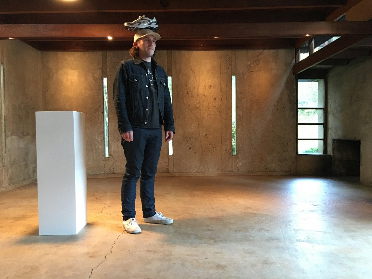 Erwin Wurm, One Minute Sculptures, Installation view, MAK Center for Art and Architecture, Los Angeles at the Schindler House, CA