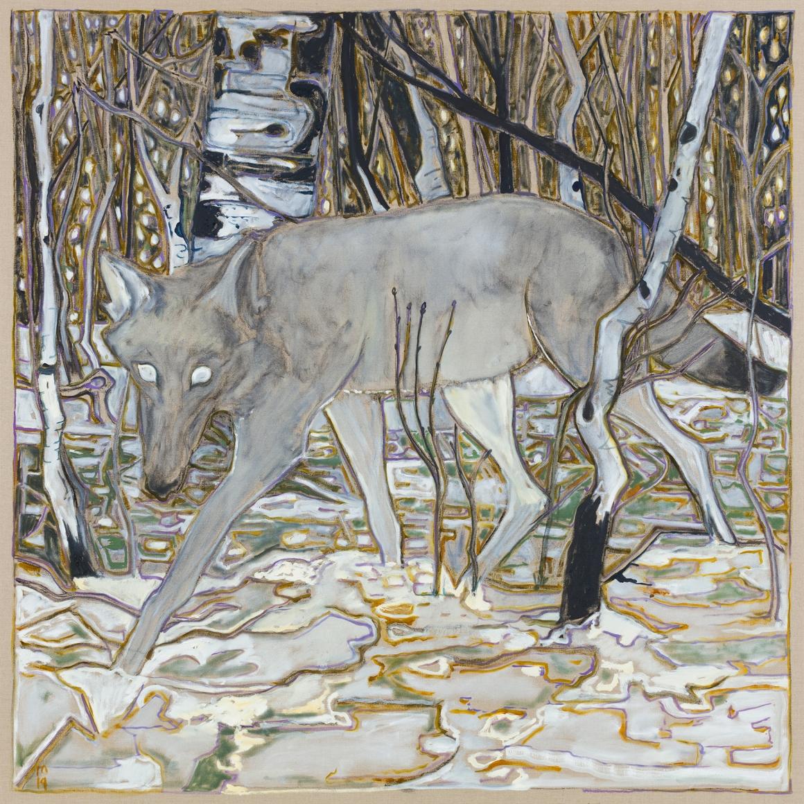 BILLY CHILDISH, wolf in birch trees, 2019