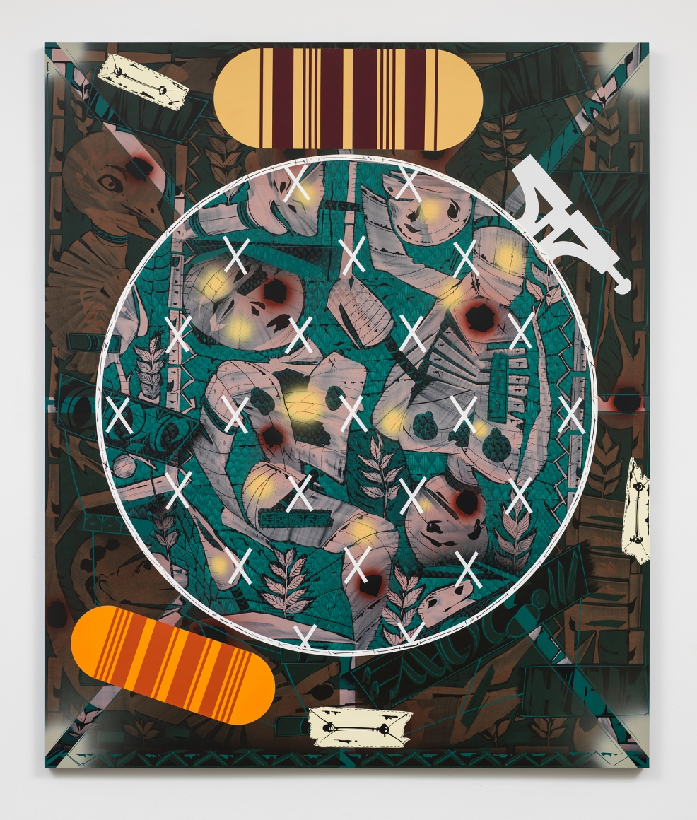 LARI PITTMAN, Needlepoint Sampler with Patches (#2) Depicting Daily Life of a Late Western Impaerium, 2013
