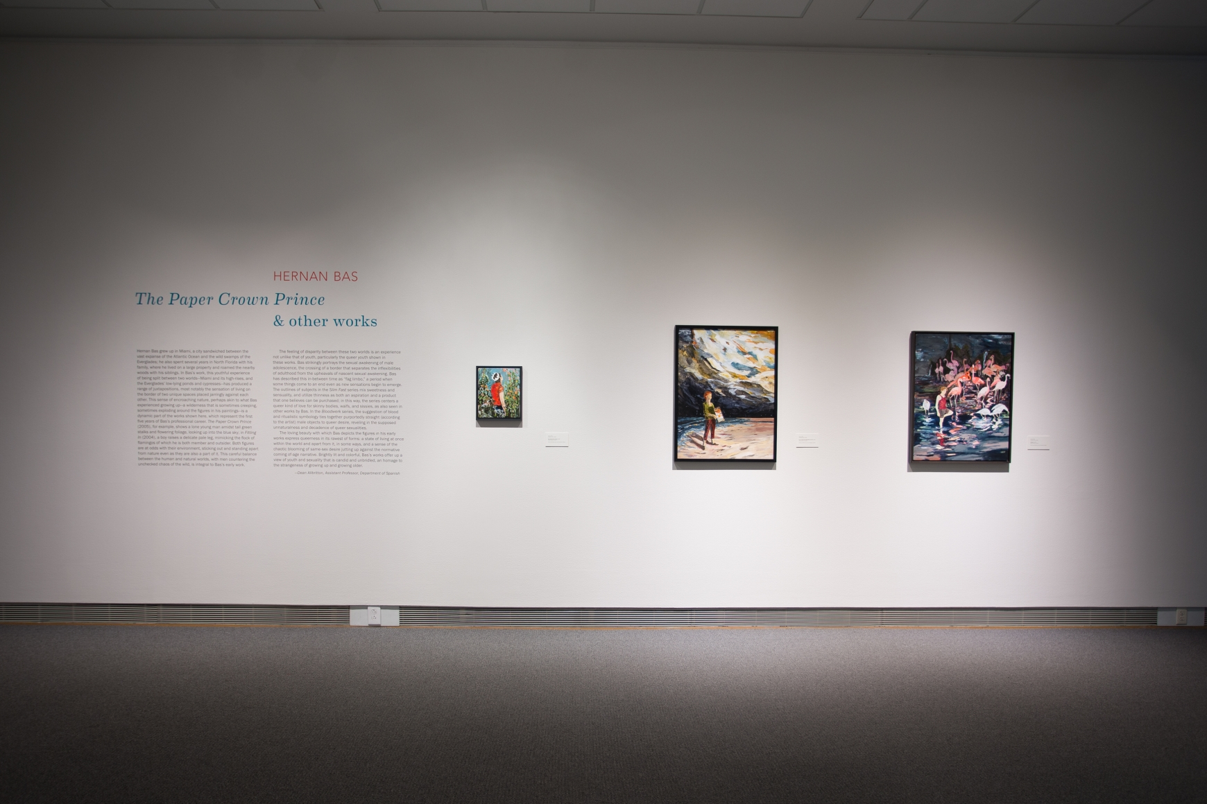 Hernan Bas:The Paper Crown Princeand Other Works, Installation view, Colby College Museum of Art,Waterville, ME