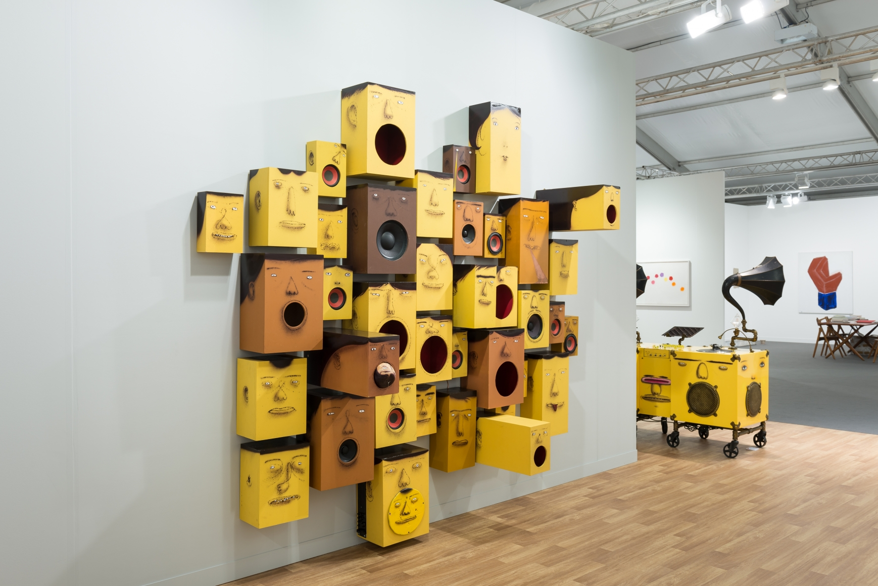 View of Lehmann Maupin's art fair booth at Frieze London 2018 featuring OSGEMEOS, perspective 6