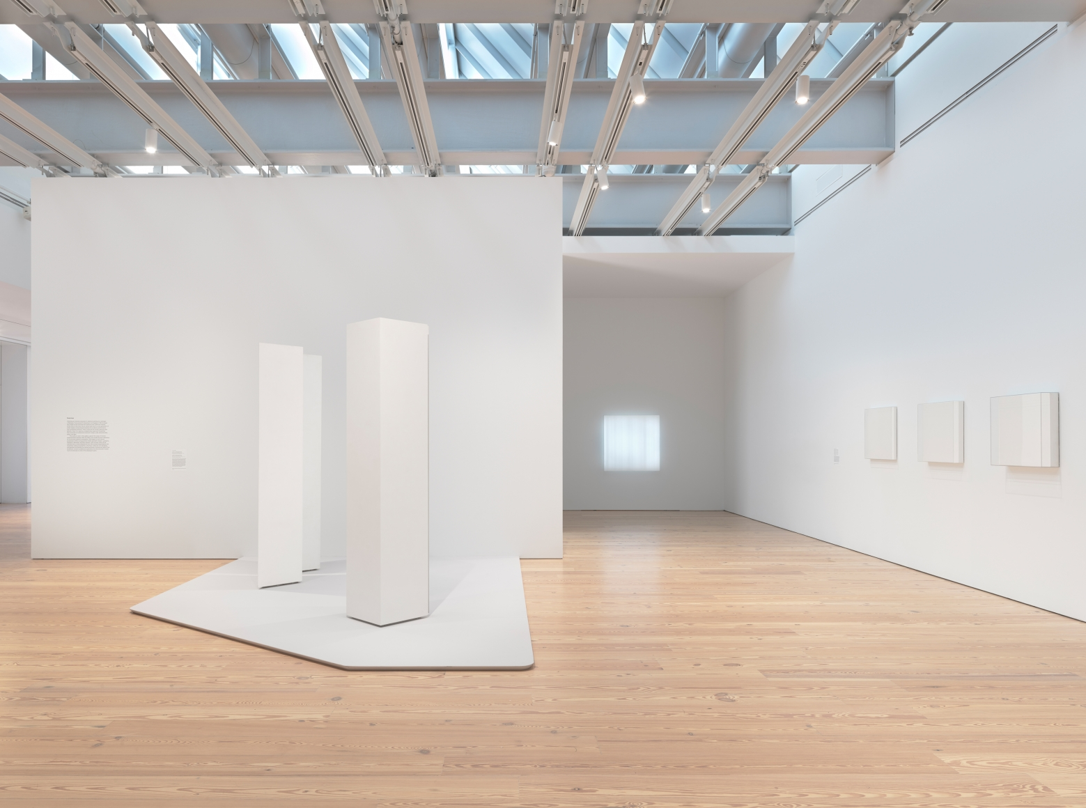 Installation photo of the 2018 exhibition Mary Corse: A Survey in Light at the Whitney Museum of American Art, New York, view 2