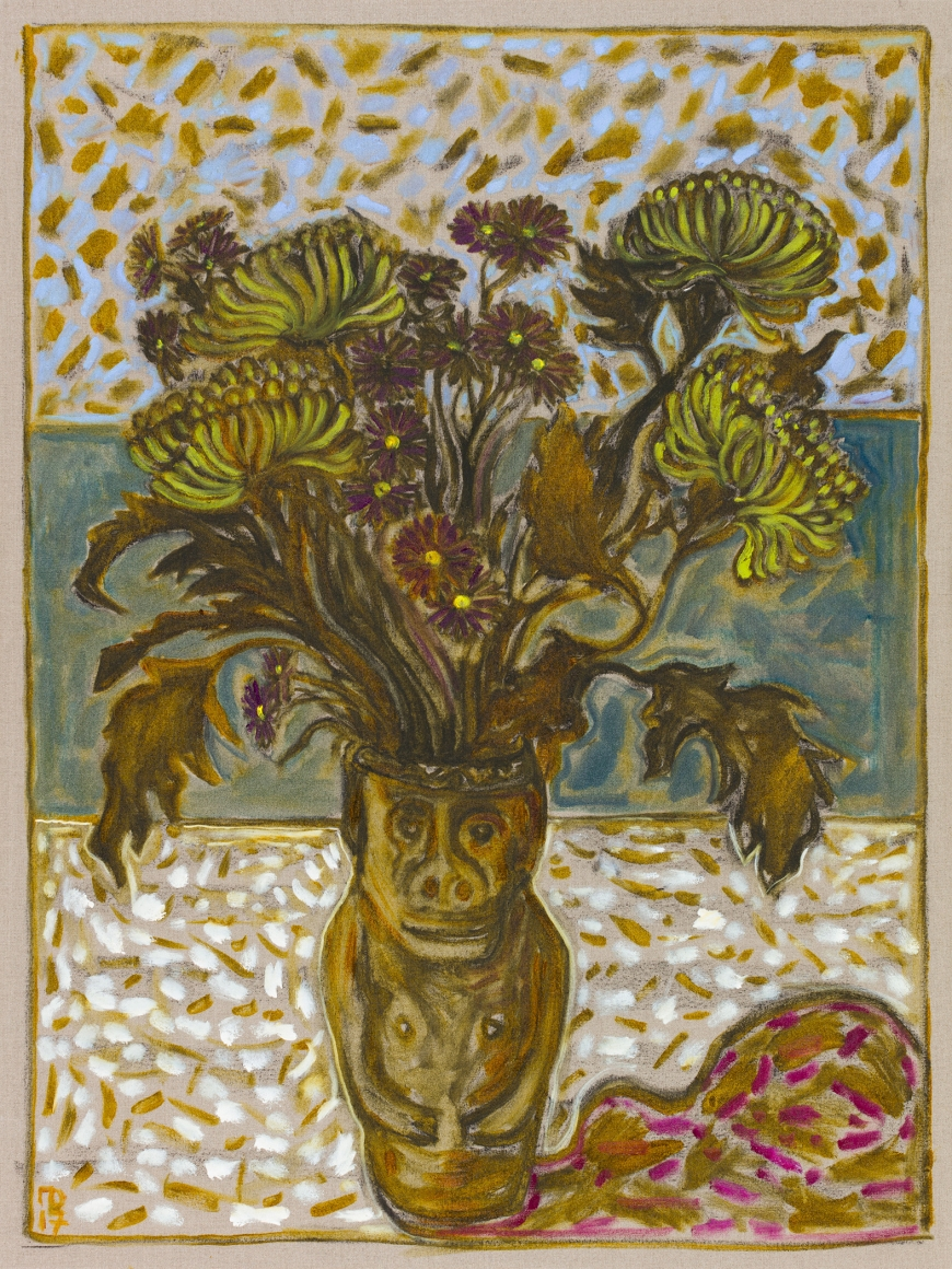 BILLY CHILDISH, chrysanthemums in June's pot, 2017
