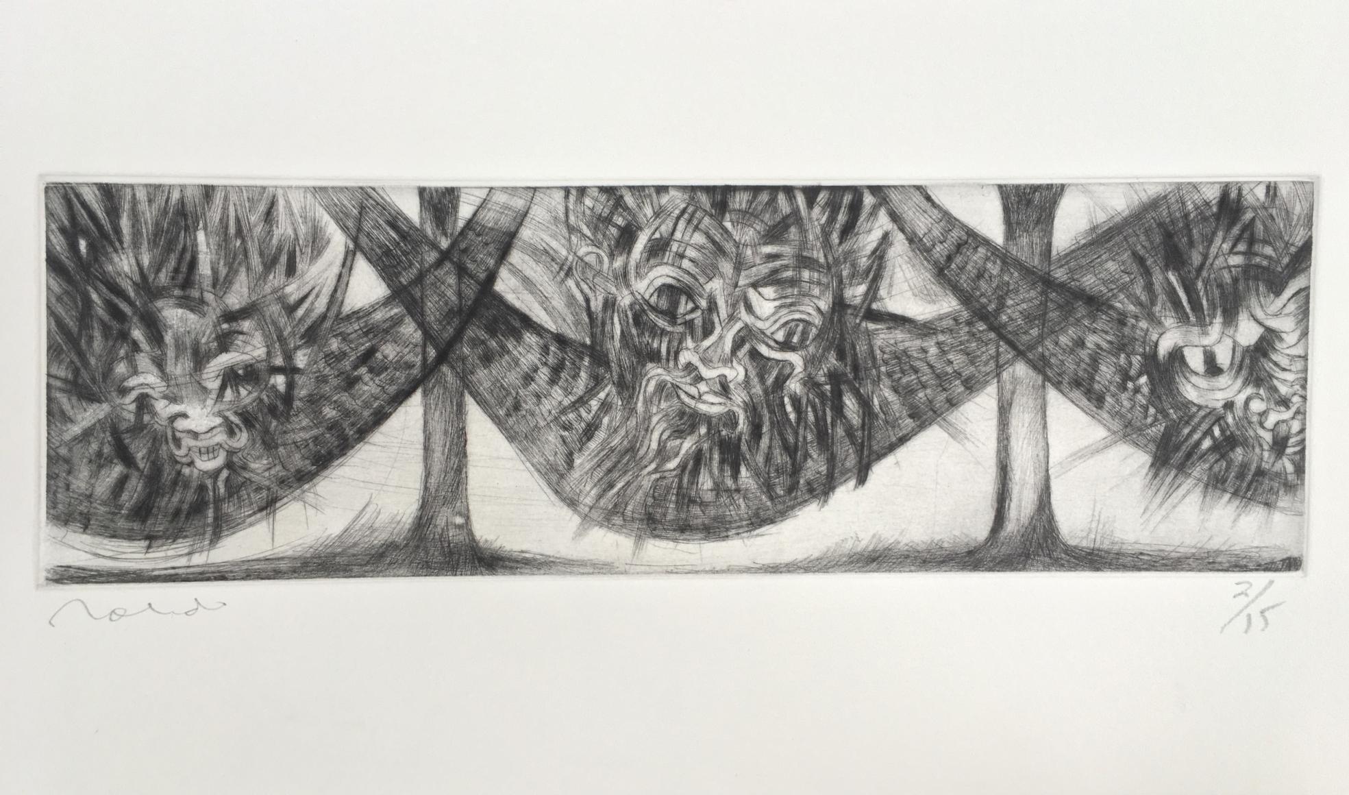 Francisco Toledo thre faces etching