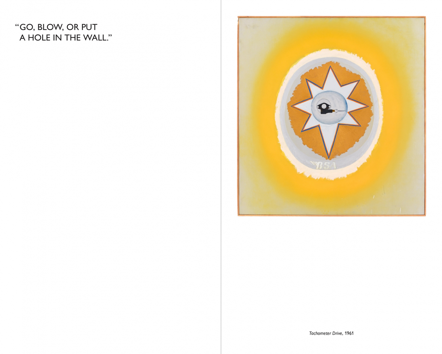 Interior view of Billy Al Bengston: My B.S.A. 350CC Gold Star & Blues for Aub (get it?), published by Venus Over Manhattan, New York, 2016