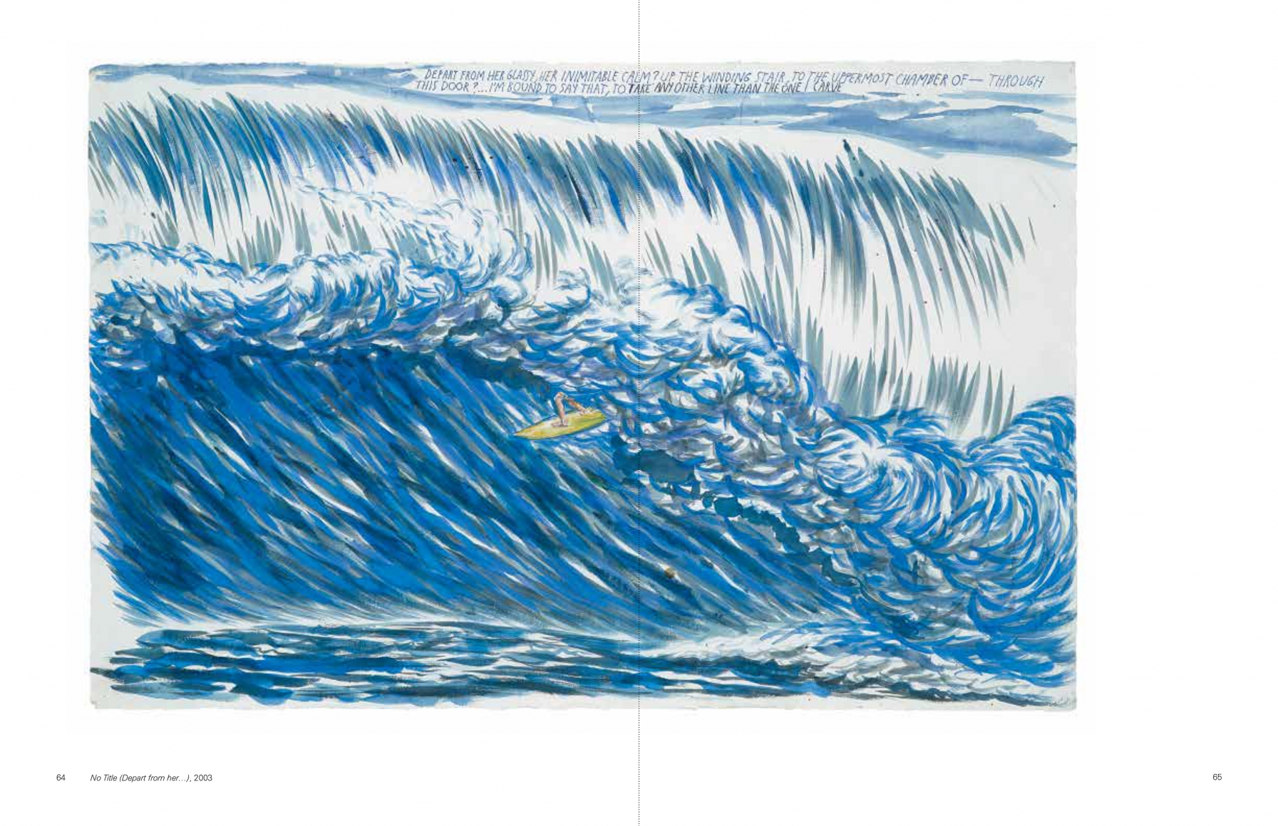 Interior view of Raymond Pettibon: Surfers 1985-2015, published by Venus Over Manhattan and David Zwirner, New York, 2015