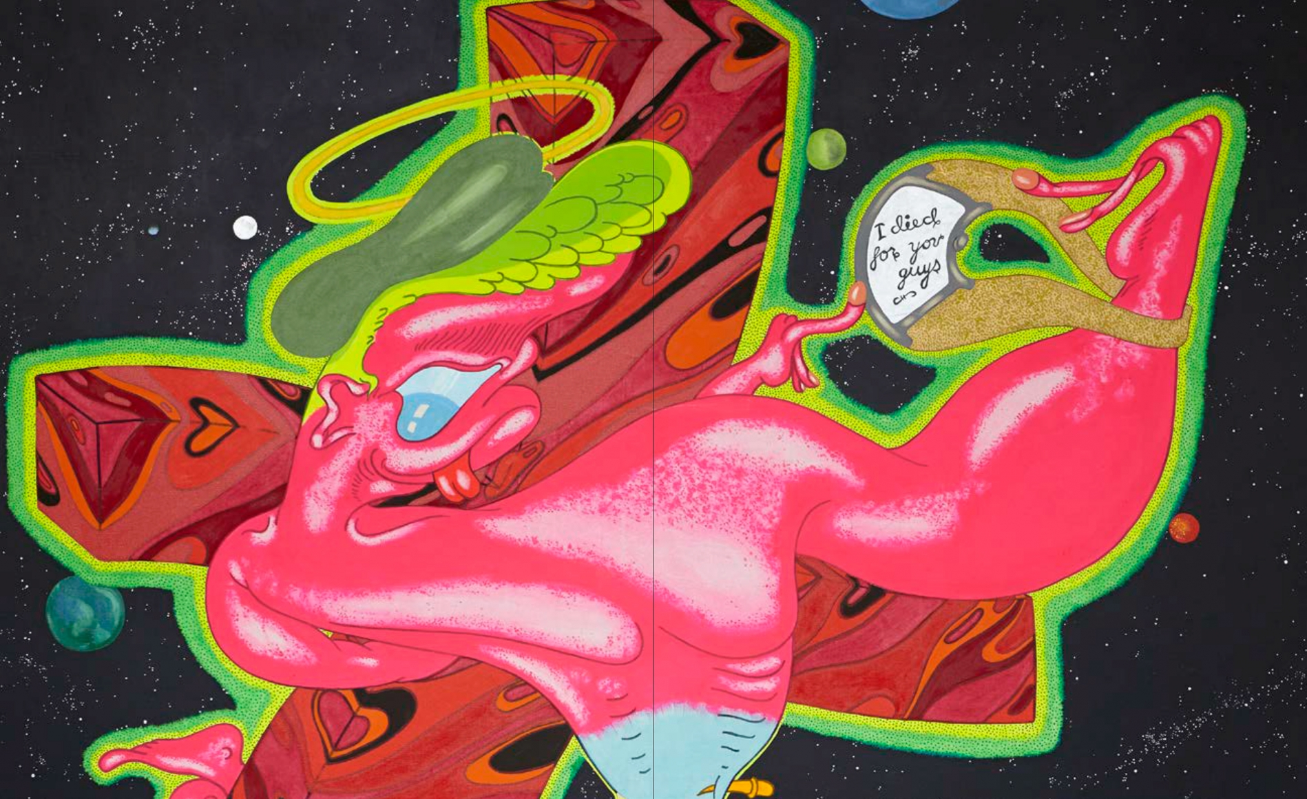 Interior view of Peter Saul: From Pop to Punk, published by Venus Over Manhattan, New York, 2015