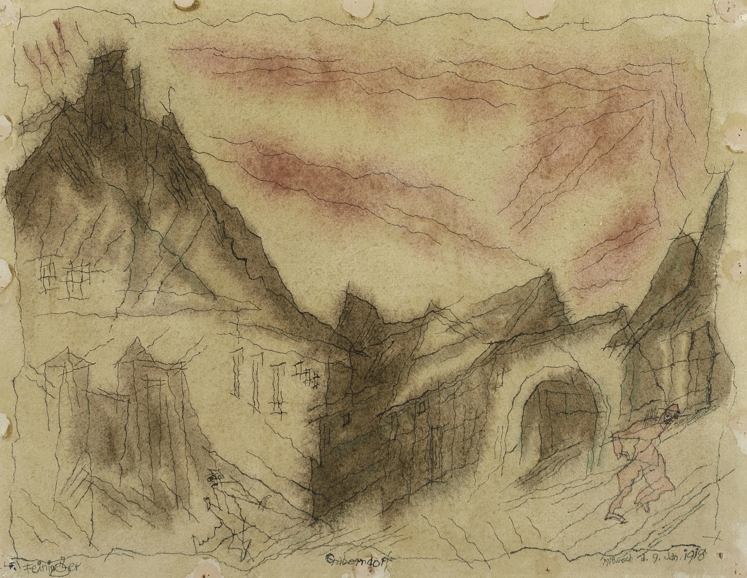 Lyonel Feininger (1871-1956), Gaberndorf, 1918, Pen, ink, and watercolor on paper, 9 1/3 x 12 1/8 in. (23.7 x 30.8 cm), Signed lower left: Feininger, Dated lower right: 1918, Titled lower center: Gaberndorf