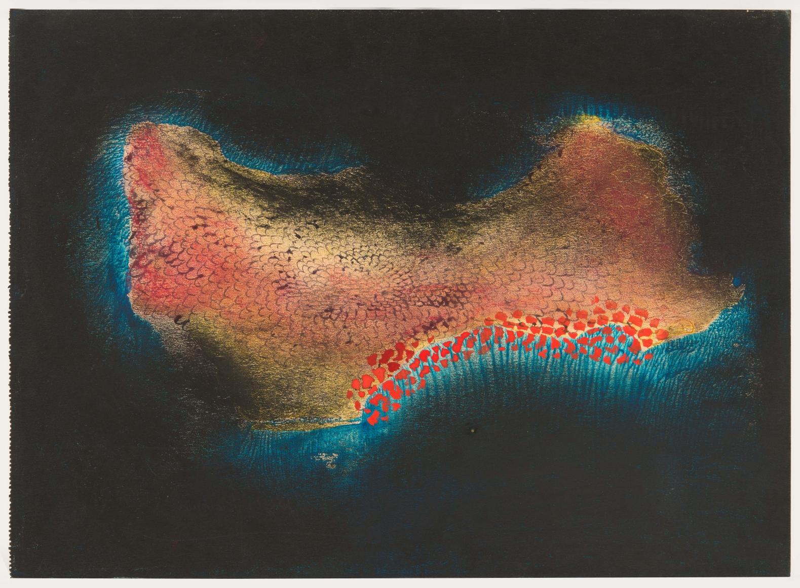 Yayoi Kusama, Island (No. 5), 1953, Gouache on paper, 9 ¾ x 13 ½ in. (24.8 x 34.3 cm)