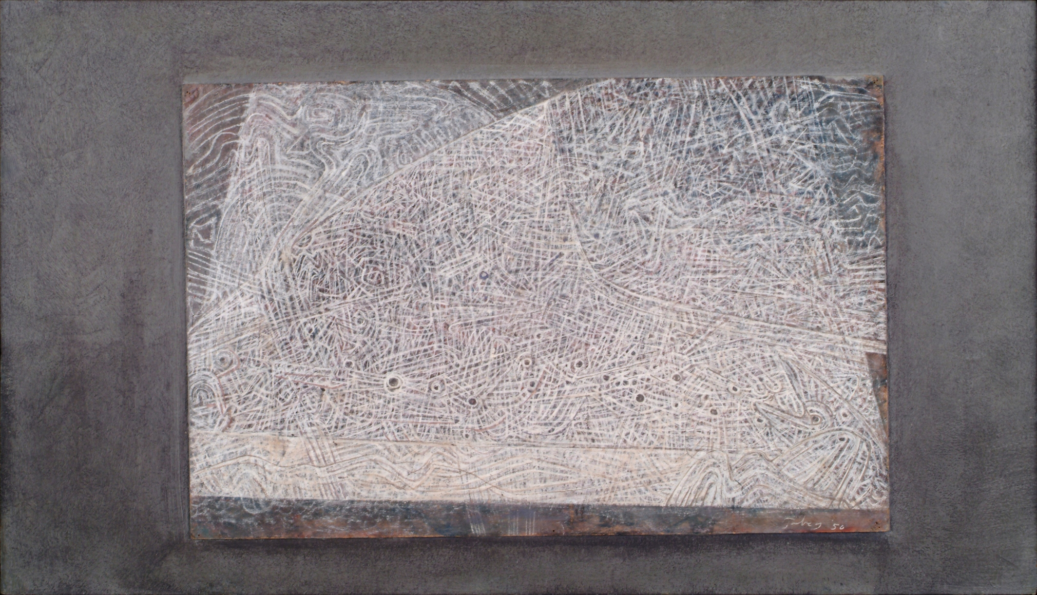 Mark Tobey, Pisces Borealis, 1950, Tempera on board, 11 x 17 in. (28 x 43.2 cm), Signed and dated lower right: Tobey 50