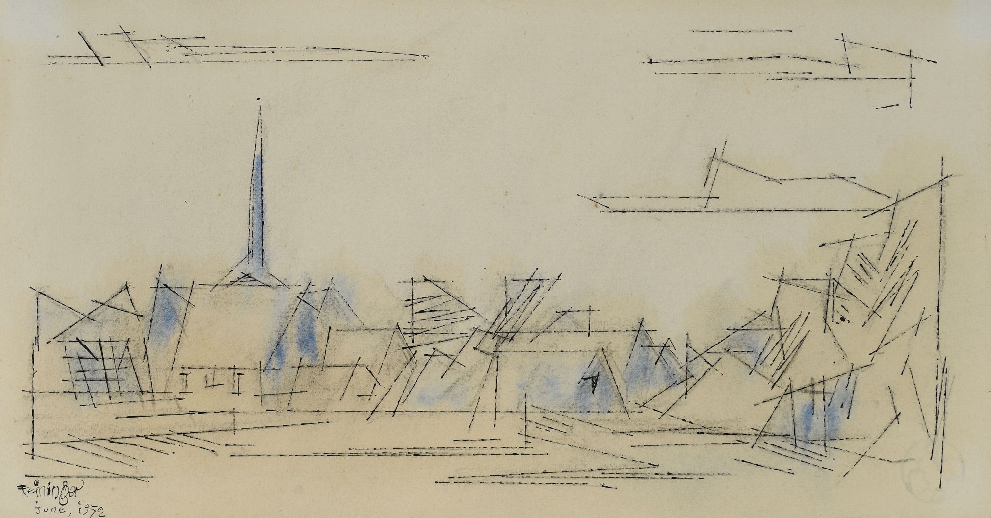 "Lyonel Feininger (1871-1956), (Village), 1952, Watercolor and ink on paper, 7 1/2 x 13 3/4 in. (19.1 x 34.9 cm), Signed and dated lower left: Feininger June, 1952, Inscribed verso: In old-time Remembrance, to Alli, from his old ""Papilep"" L.F., Aug. 26th 1952"