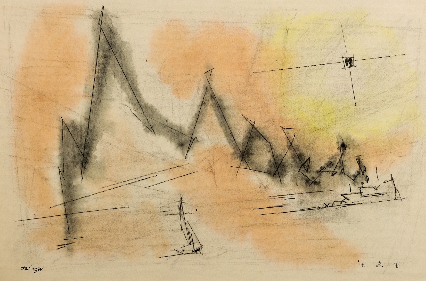 Lyonel Feininger (1871-1956), (Smoke-script), 1946, Ink and watercolor on paper, 12 3/4 x 18 7/8 in. (32.4 x 47.9 cm), Signed lower left: Feininger, Dated lower right: 14. VII. 46., Inscribed bottom left: X. L.F., Titled bottom right: Smoke Script