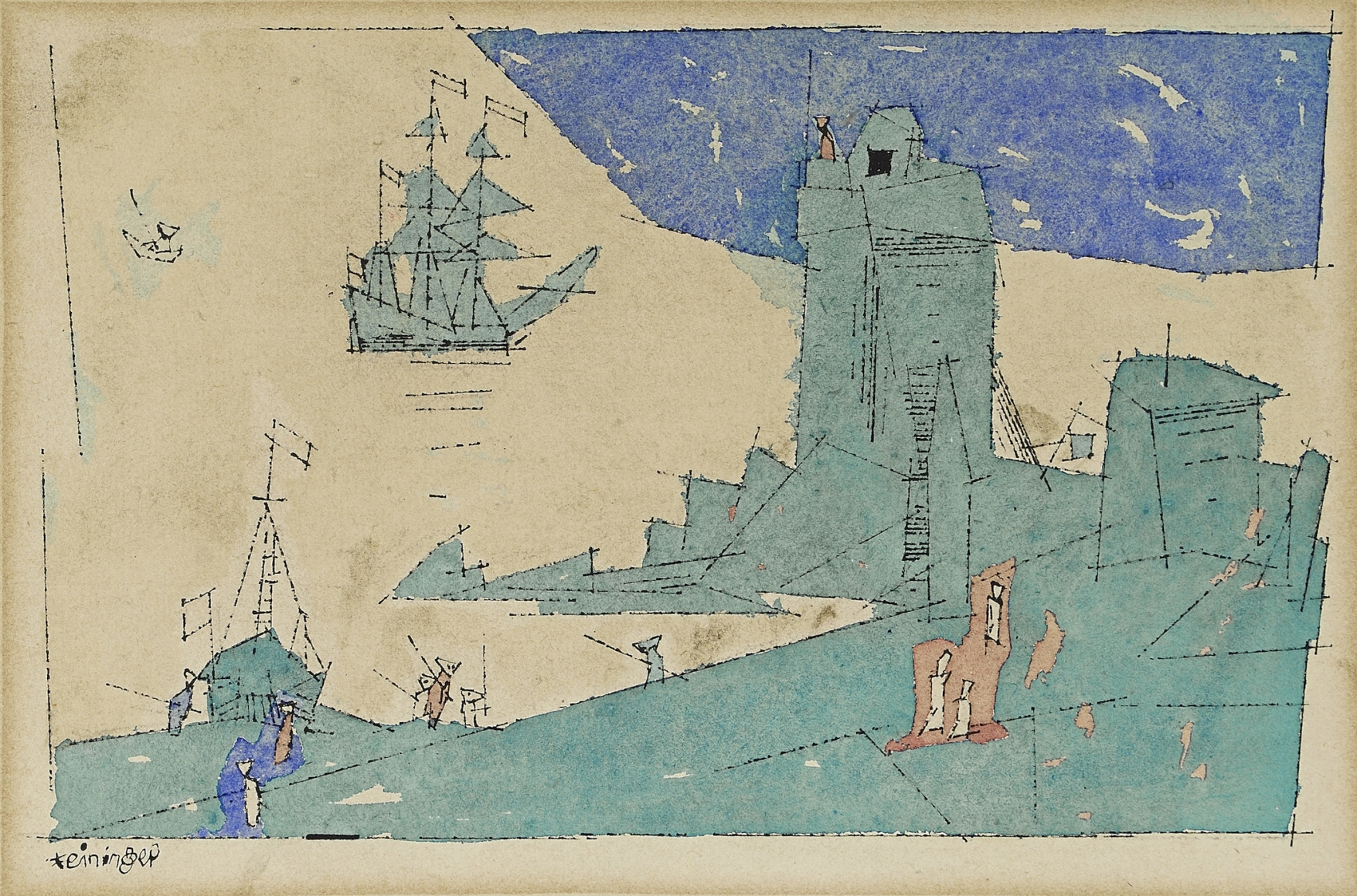 "Lyonel Feininger (1871-1956), The Watch Tower, 1947, Ink and watercolor, 7 7/8 x 11 1/8 in. (20 x 28.3 cm), Signed lower left: Feininger, Titled and dated verso: 1947 The Watch Tower, Inscribed verso: ""Merry Xmas!"" To Jeanne, from Papileo with much love 1947"