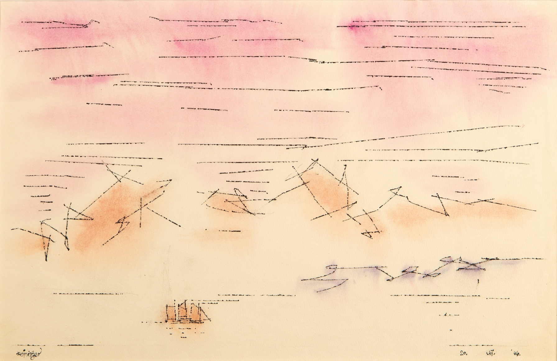 Lyonel Feininger (1871-1956), Sky Script, 1946, Watercolor and ink on paper, 12 1/2 x 18 7/8 in. (31.8 x 47.9 cm), Signed lower left: Feininger, Dated lower right: 20. VIII. '46., Titled lower center: Sky Script