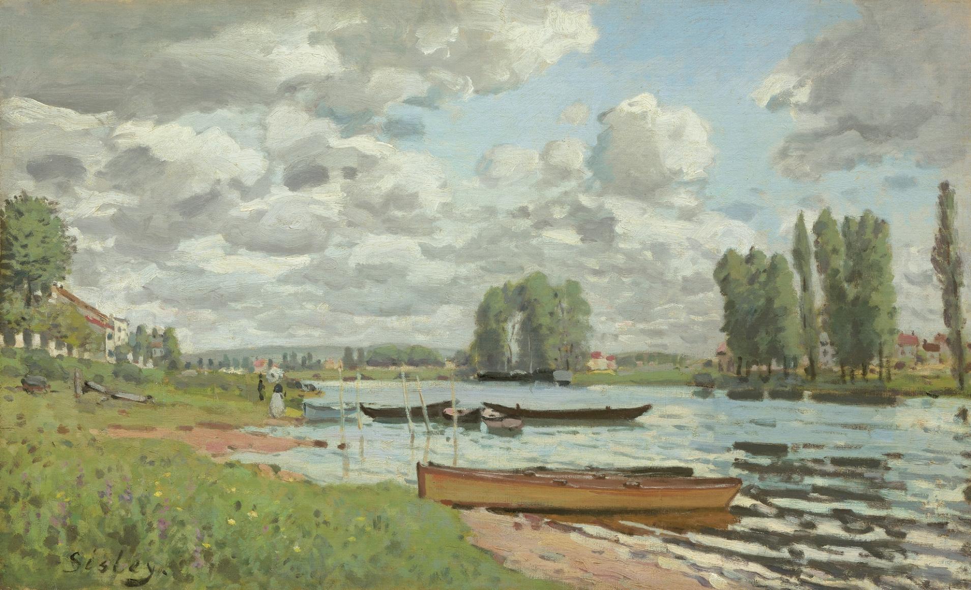 Alfred Sisley, Bords de Seine, près de l'île Saint-Denis (At the Edge of the Seine, near L'île Saint-Denis), 1872, Oil on canvas, 18 ½ x 25 ½ in. (46 x 65 cm), Signed lower left: Sisley