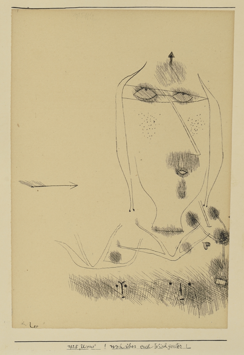 "Paul Klee (1879-1940), !Weh über euch Wischgeister! (Alas Over You Rag-Spirits!), 1925, Pen and ink on paper, 8 5/8 x 6 1/8 in. (21.9 x 15.6 cm), Signed lower left: Klee, Inscribed upper center: 1925 1112, Inscribed on bottom edge of mat: 1925 ""U.eins""! Weh über euch Wischgeister!"