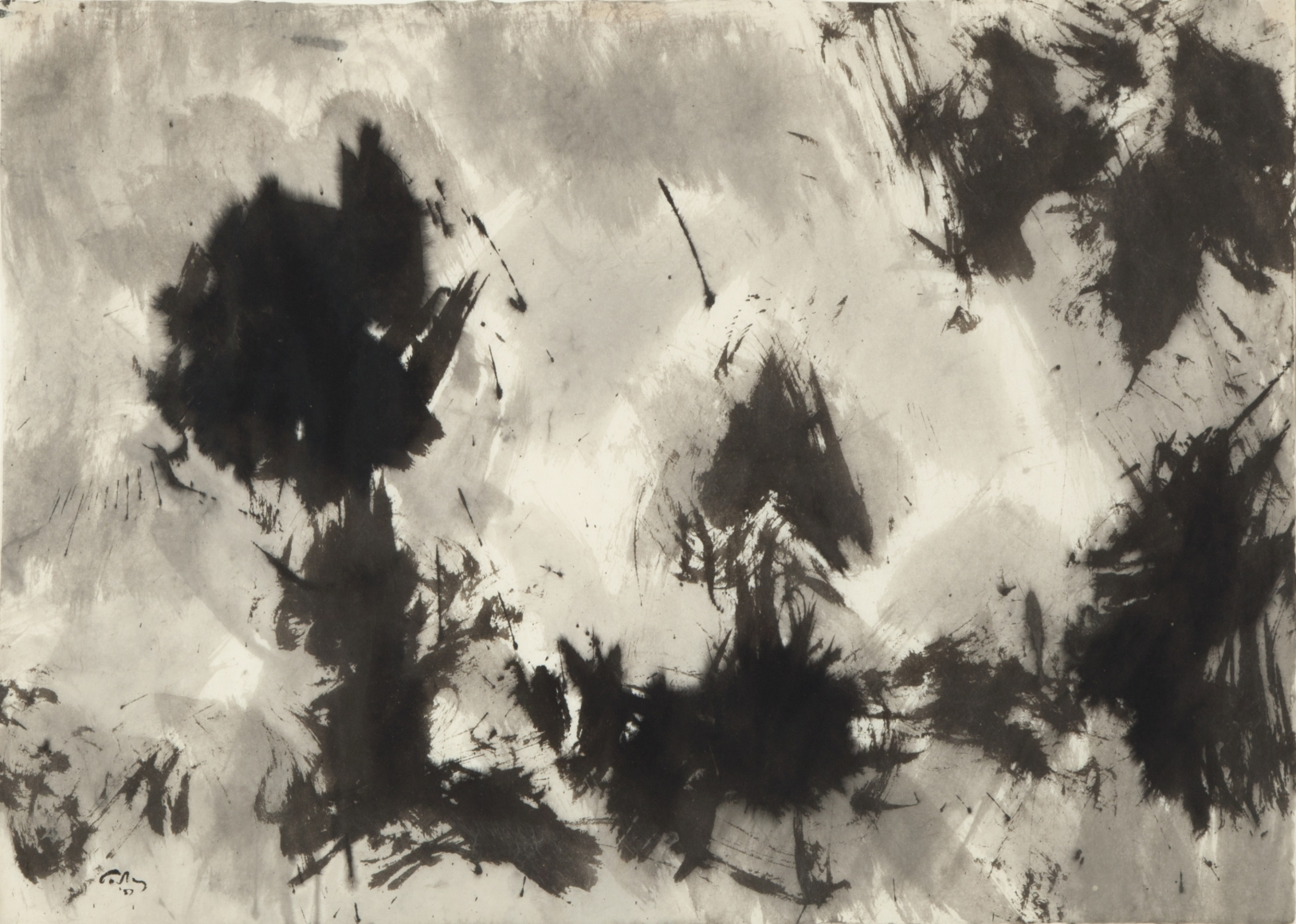 Mark Tobey (1890-1976), Untitled (Sumi), 1957, Sumi on paper, 20 3/4 x 29 in. (52.7 x 73.7 cm), Signed and dated lower left: Tobey '57