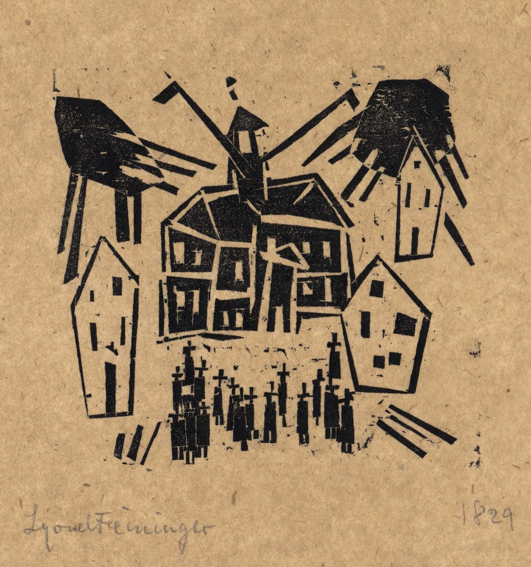 Town Hall (with Assembly in Foreground) woodcut by Lyonel Feininger