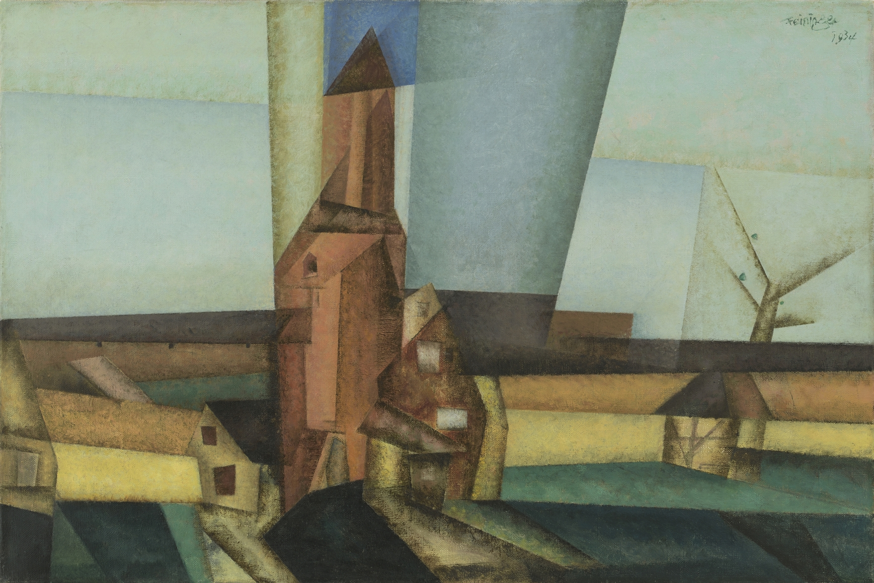 "Lyonel Feininger, Der Pulverturm II (The Powder Tower II), 1934, Oil on canvas, 19 7/16 x 28 3/8 in. (49.4 x 72.1 cm), Signed and dated upper right: Feininger 1934, Inscribed and dated verso on stretcher: Lyonel Feininger 1934, Inscribed, dated and titled verso on label on stretcher: Lyonel Feininger 1934 ""The Powder Tower"""