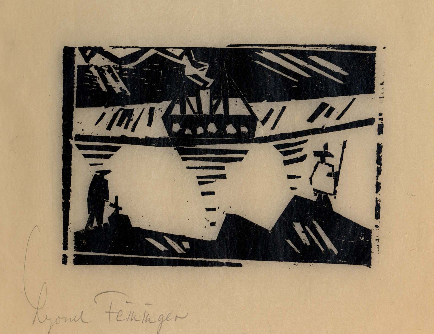 Angler and Steamer woodcut by Lyonel Feininger