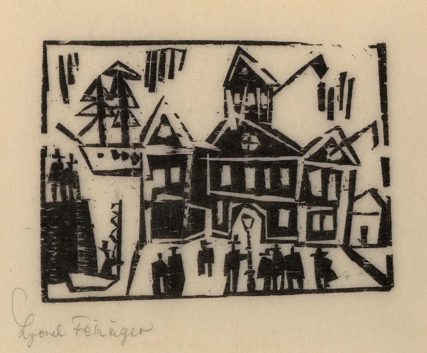 Custom House woodcut by Lyonel Feininger