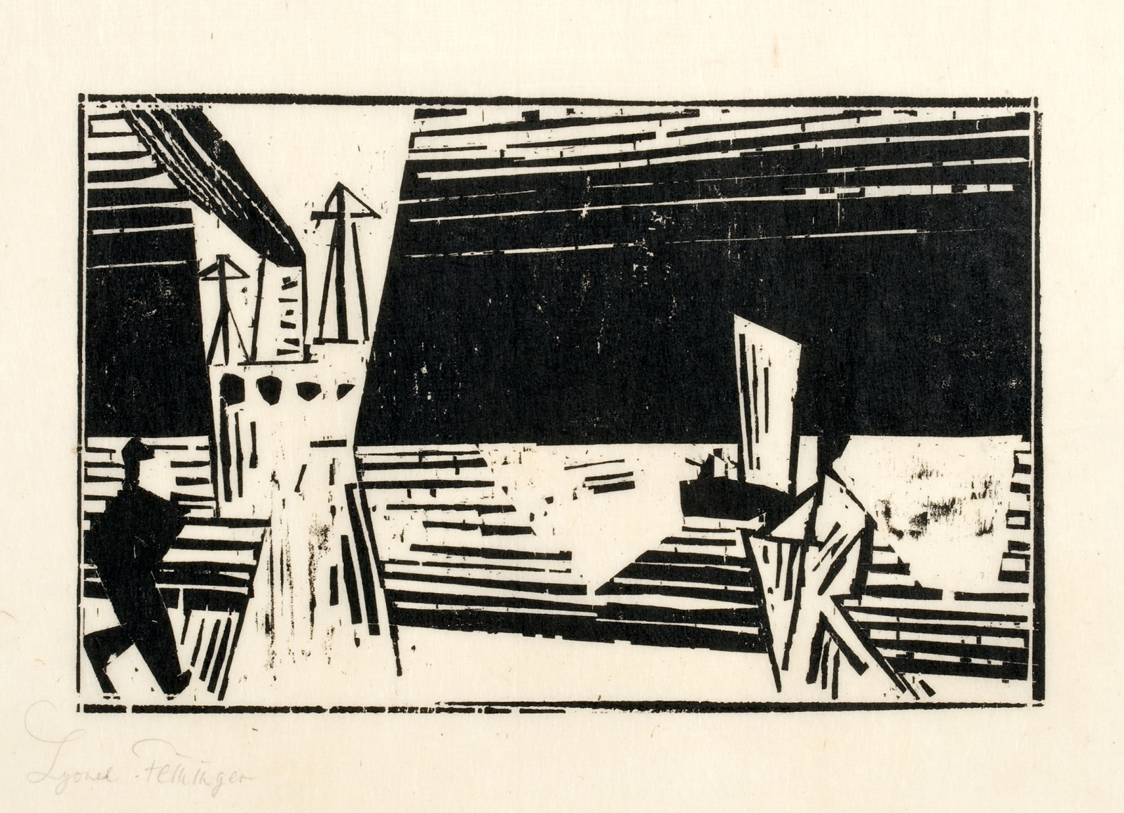 Marine 2 (with two figures on the beach) woodcut by Lyonel Feininger