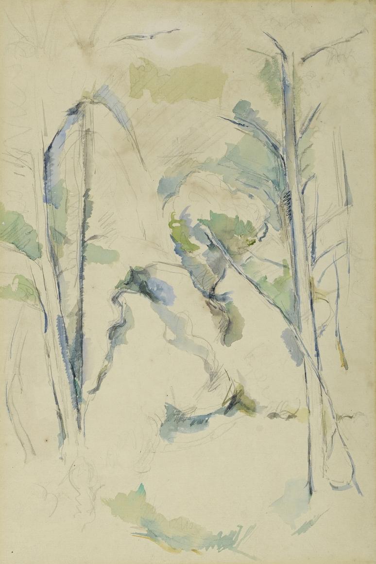Paul Cézanne (1839-1906), Rochers près des grottes au-dessus de Château Noir (Rocks near the caves above Chateau Noir), 1895-1900, Graphite and watercolor on laid paper, 18 x 11 1/2 in. (45.7 x 29.2 cm)