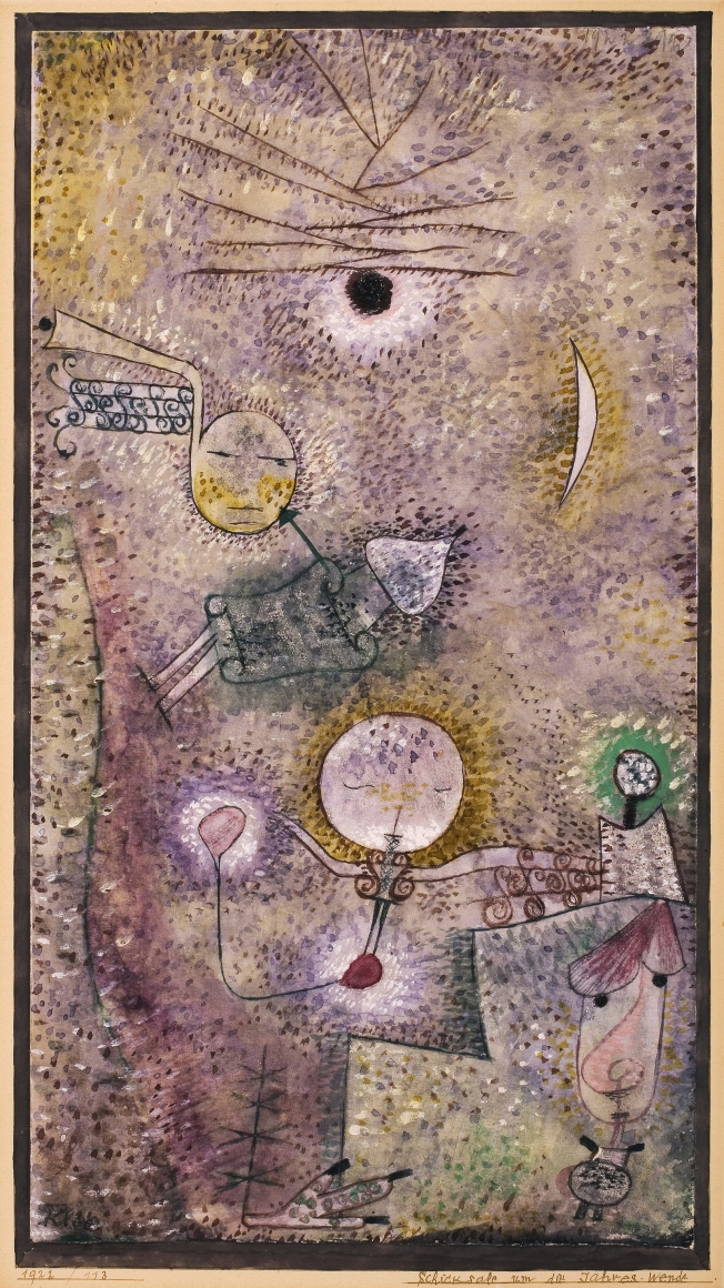 Paul Klee, Schicksale um die Jahres-Wende (Fates at the Turn of the Year), 1922, Watercolor on chalk grounding on paper, surrounded by watercolor and ink on cardboard, 13 5/8 x 7 ¼ in. (34.5 x 18.5 cm), Signed lower left: Klee, Inscribed on cardboard lower right: Schicksale um die Jahres-Wende / 1922 / 113 S CL