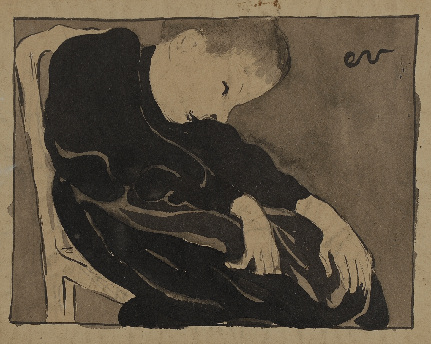 Édouard Vuillard (1868-1940), Marie Vuillard sur sa chaise, penchée (Marie Vuillard in her chair, leaning), 1891-1892, Chinese ink wash on brown paper, 7 1/10 x 9 1/4 in. (18 x 23.5 cm), Initialed upper right: ev
