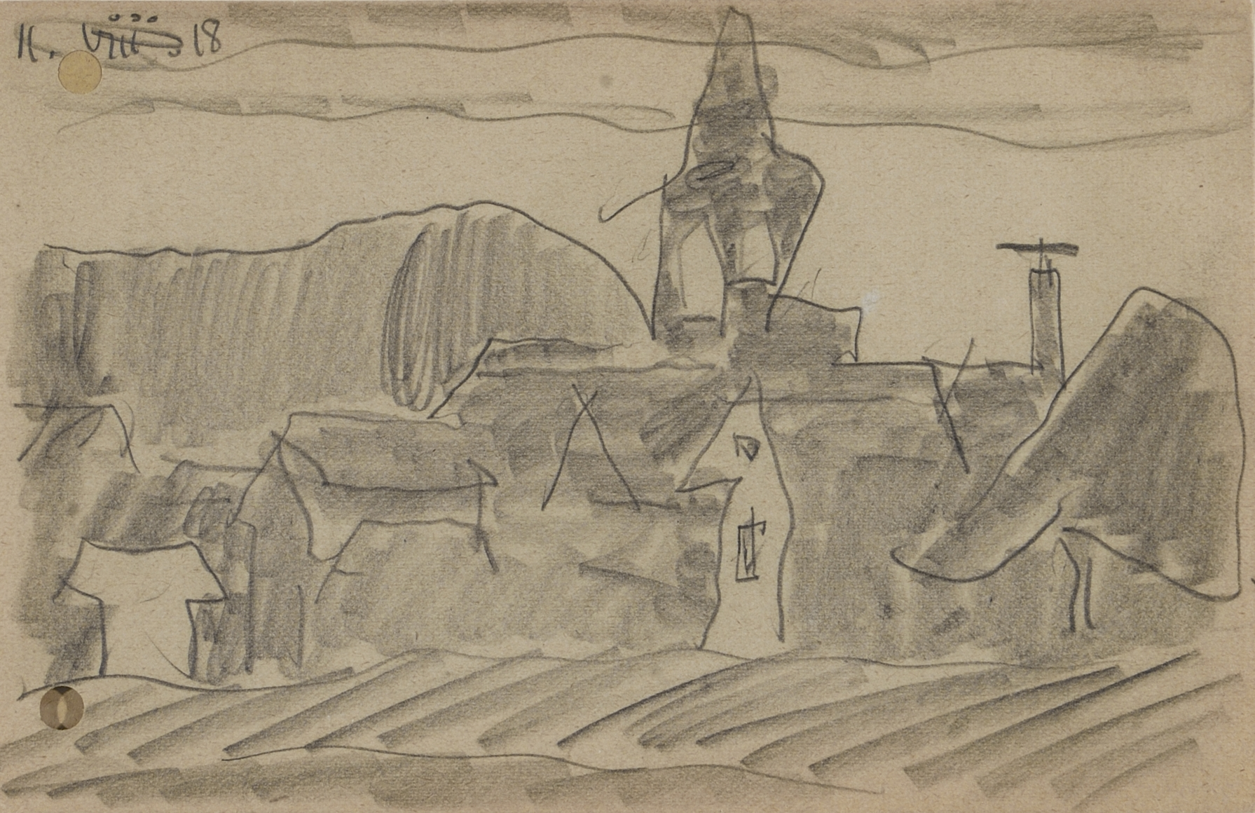Braunlage in the Harz Mountains with St. Trinitatis Church by Lyonel Feininger