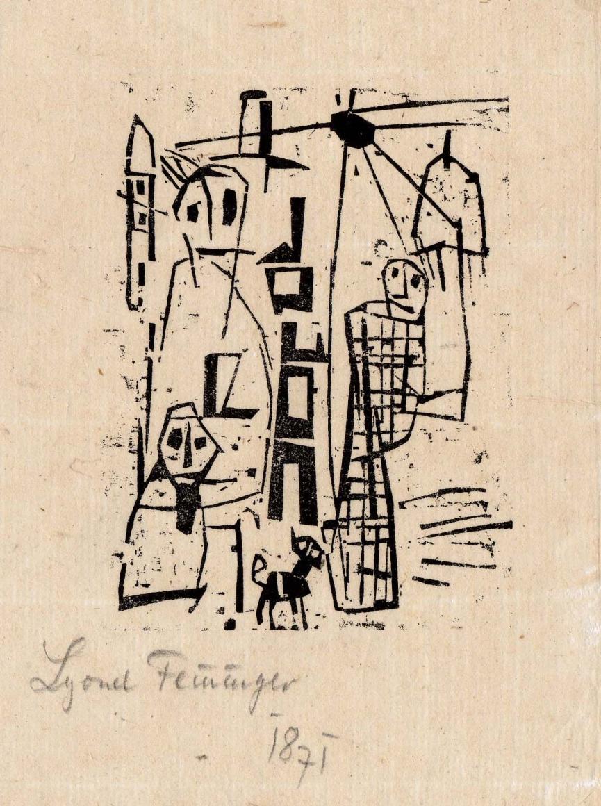 Promenade woodcut by Lyonel Feininger