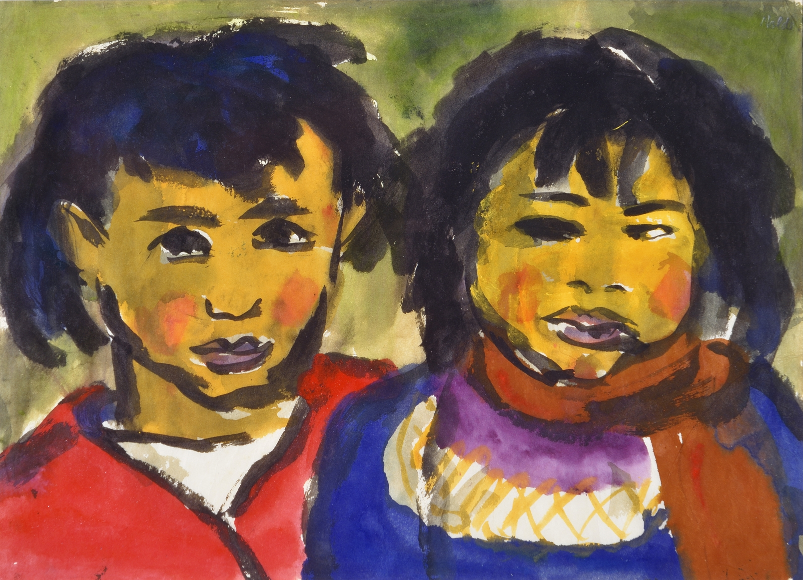 Emil Nolde, Two Children, c. 1918, Watercolor on paper, 13 3/4 x 18 1/2 in. (34.9 x 47 cm)