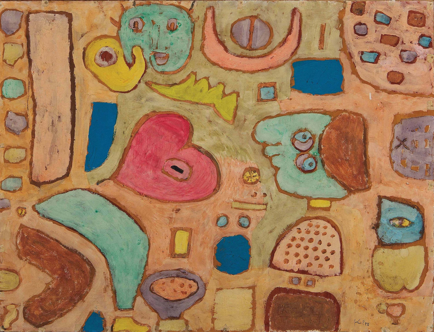 Paul Klee, Das kranke Herz (The Sick Heart), 1939, Colored paste on cardboard on wooden strainer, 16 x 21 1/4 in. (40.6 x 54 cm), Signed lower right: Klee