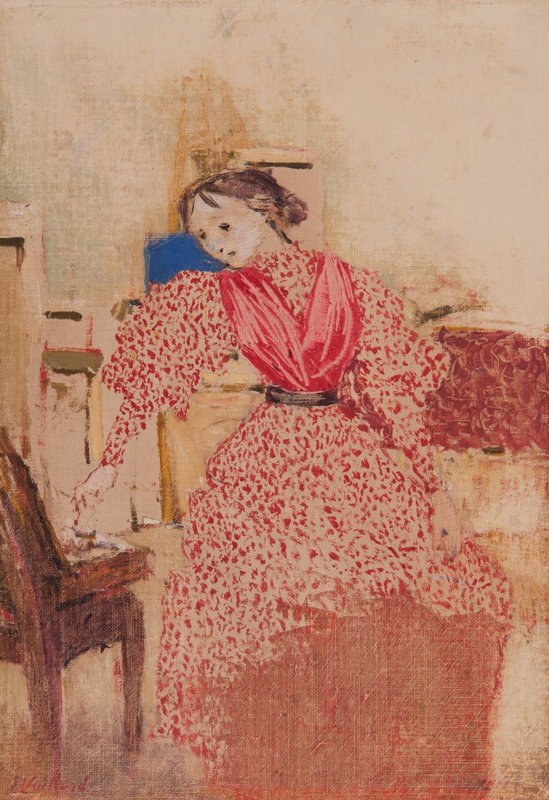 Édouard Vuillard (1868-1940), Demoiselle en rouge (Young woman in red), 1893, Oil on canvas, 14 x 9 7/16 in. (35.6 x 24 cm), Signed lower left: E. Vuillard