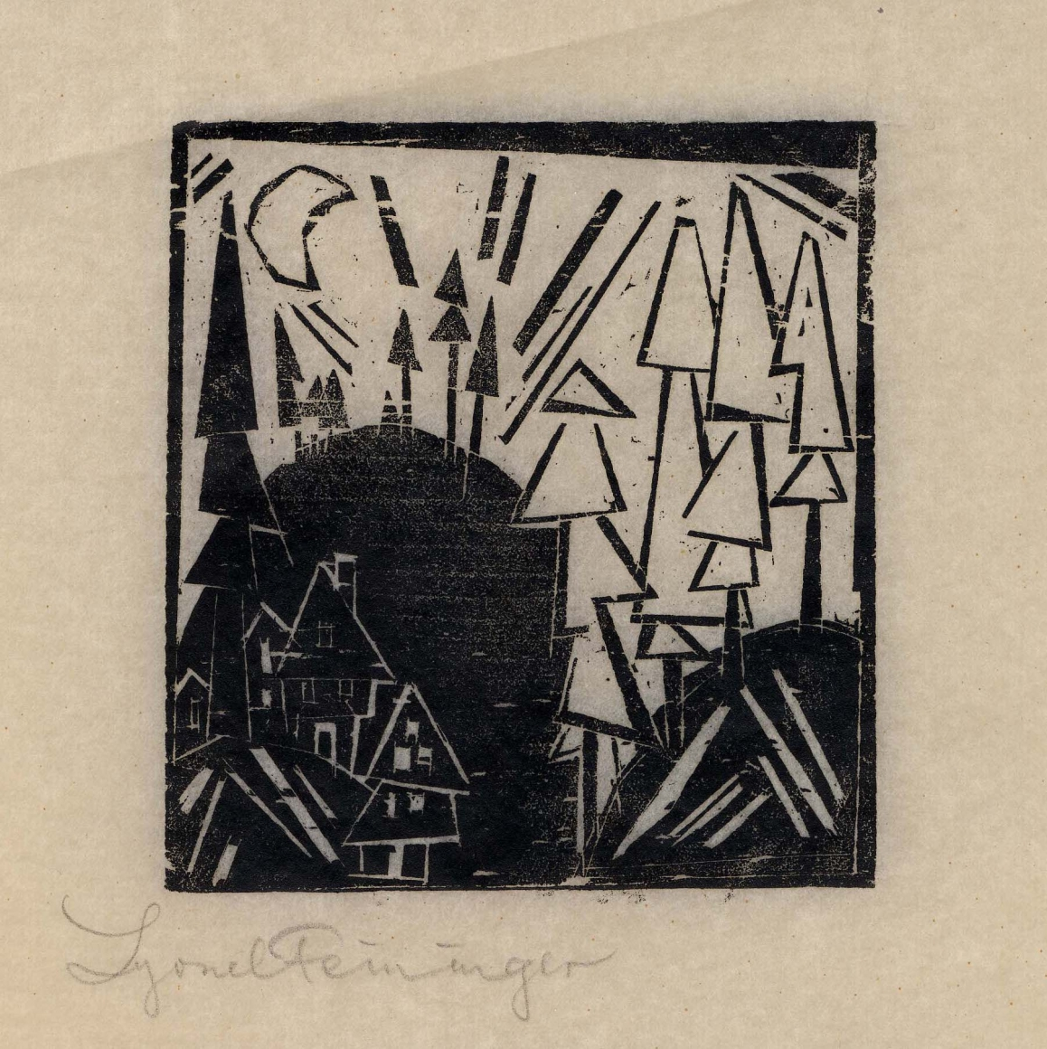 Mountain with a Village woodcut by Lyonel Feininger