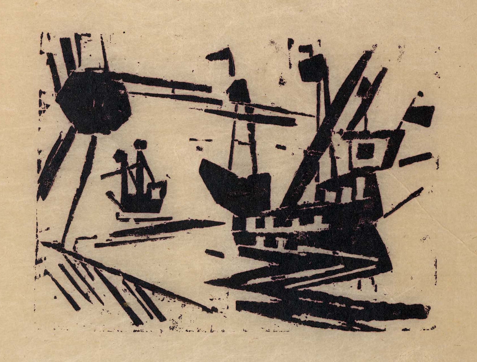 Ships and Sun woodcut by Lyonel Feininger