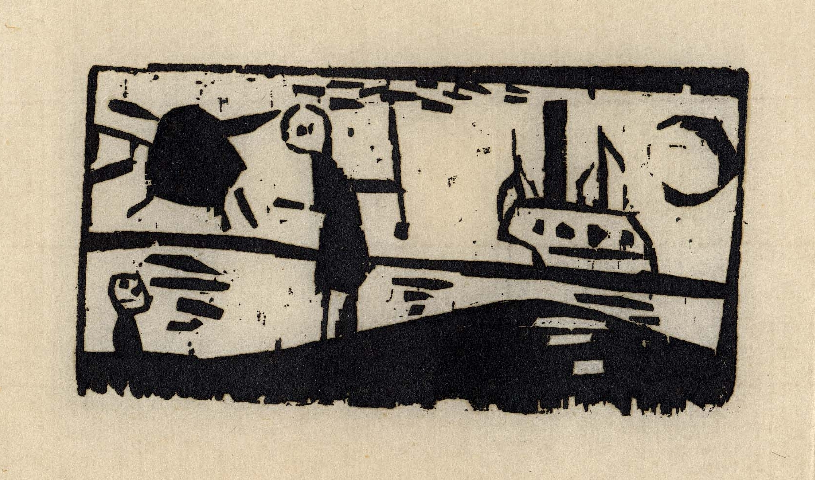 """Ships with Sun and Moon"" woodcut by Lyonel Feininger"
