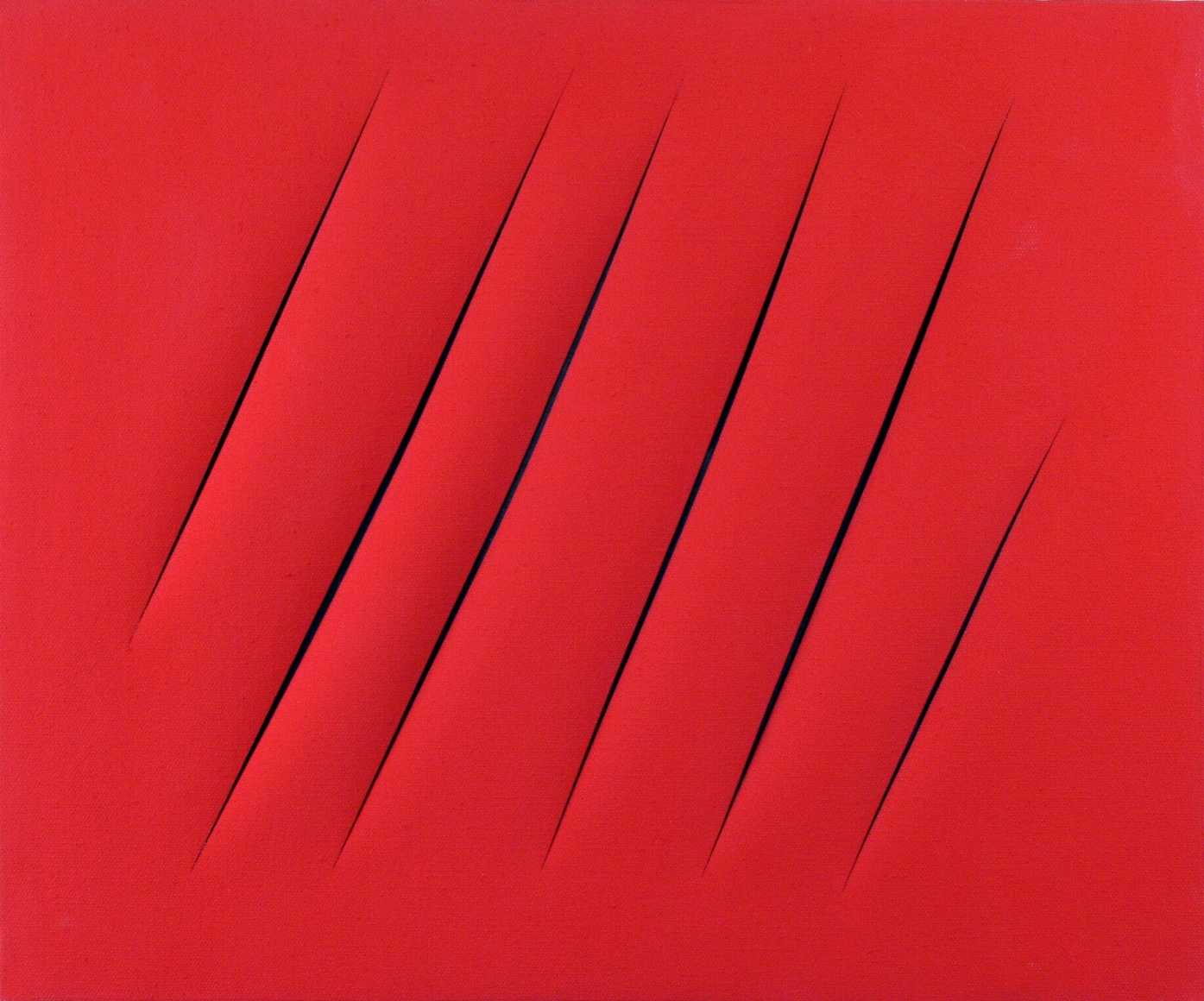 Lucio Fontana, Concetto Spaziale Attese, 1964, Water-based paint on canvas, 20 7/8 x 25 5/8 in. (53 x 65cm)
