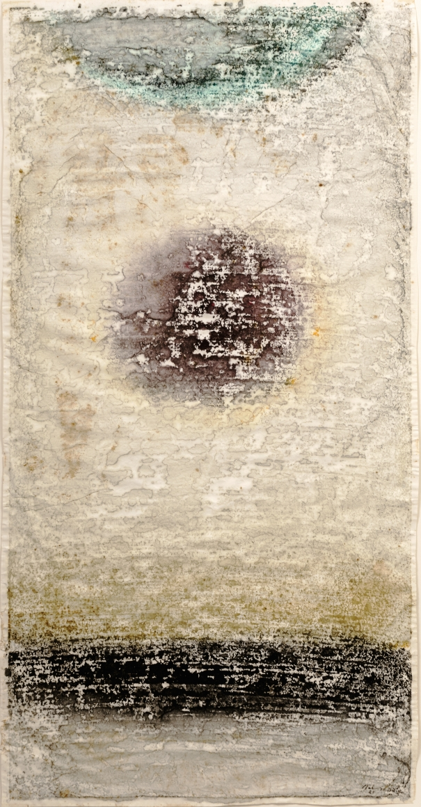 Mark Tobey (1890-1976), Untitled, 1965, Monotype on rice paper heightened with tempera, 39 1/8 x 20 in. (99.4 x 50.8 cm), Signed and dated lower right: Tobey 65 Bâle