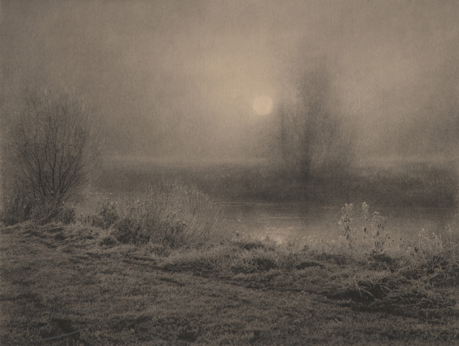 14. Léonard Misonne, Aurora a'hiver, 1926. Frosted brush and trees alongside a river in hazy sunlight. Sepia-toned print.