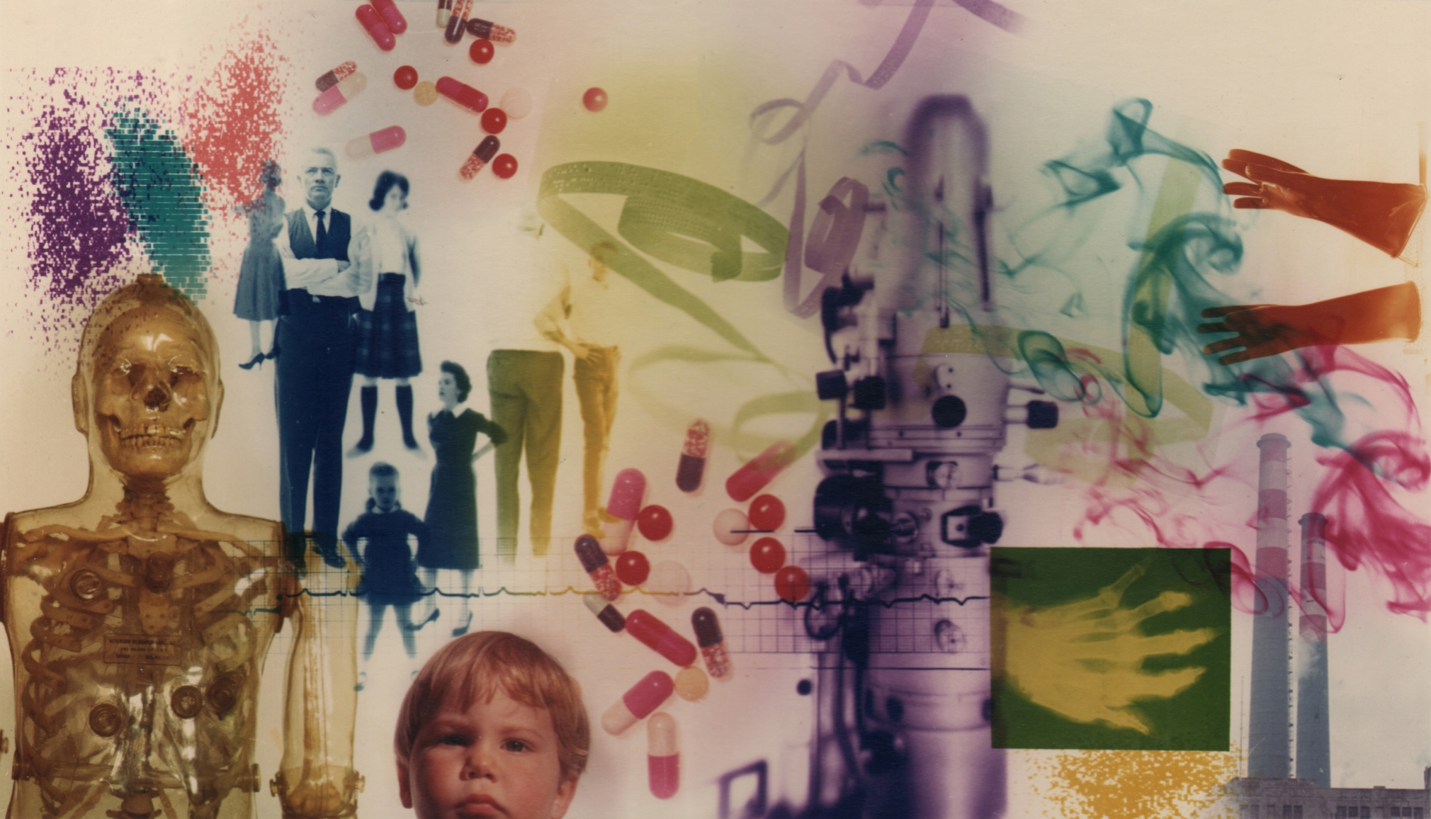 22. David Attie, Untitled (Pharmaceutical Montage), c. 1970. Composite color photo featuring a model skeleton, various pills, adults and children, wisps of smoke, gloves, and more.