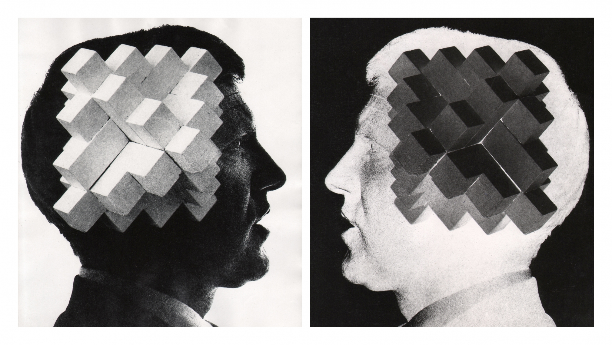11. David Attie, Untitled, n.d. Two composite prints: one positive and one inverted negative of the same image. Side-profile portrait of a man's head with an abstract geometric sculpture superimposed.