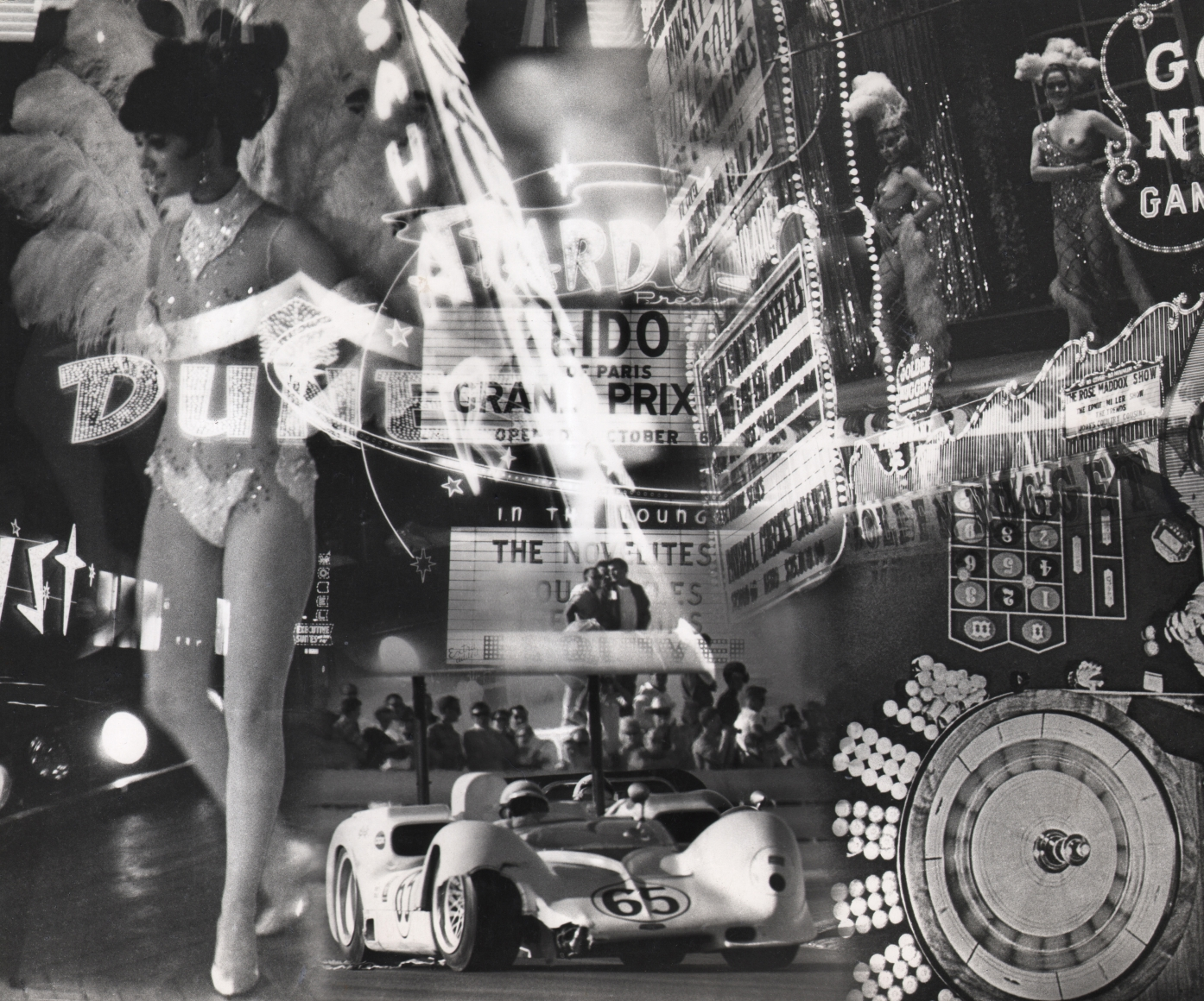 13. David Attie, Car & Driver, Las Vegas, 1967. Composite photo featuring showgirls, marquees, a roulette table, and a racecar.
