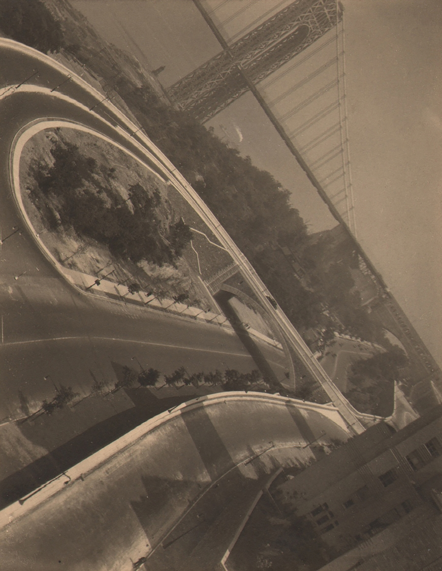 Paul J. Woolf, George Washington Bridge Abstraction, c. 1933. View of the street and George Washington Bridge with horizon line at an upper left to lower right diagonal.