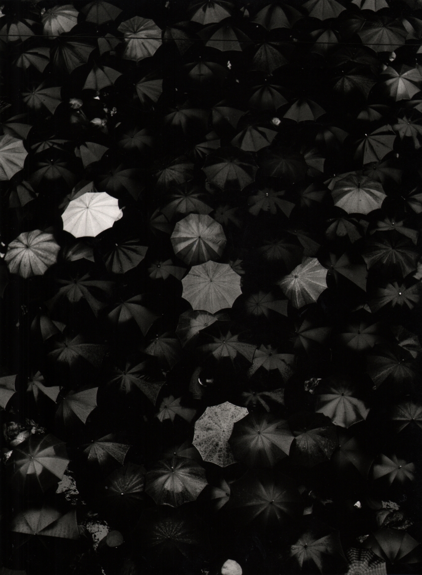 Nino Migliori, Albino, 1956. One white umbrella opened among many black umbrellas, photographed from above.