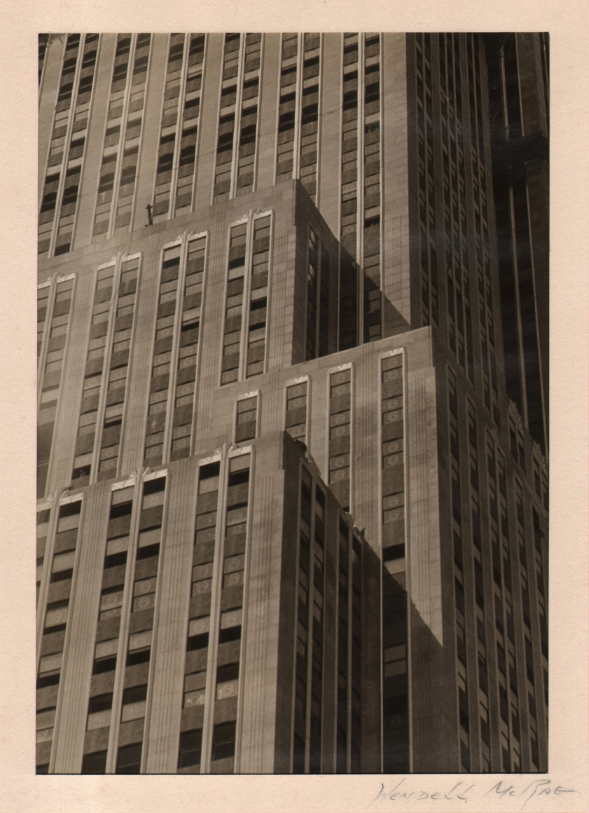 10. Wendell MacRae, Empire State Building, Lower Levels, c. 1930. Geometric abstraction: Window-covered building facade with four visible corners lit from the left, shadows cast to the right.