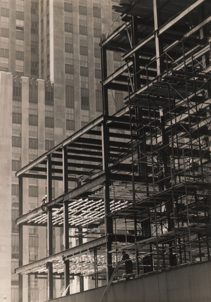 Paul J. Woolf, Rockefeller Center Construction, c. 1933. Scaffolding with construction workers.