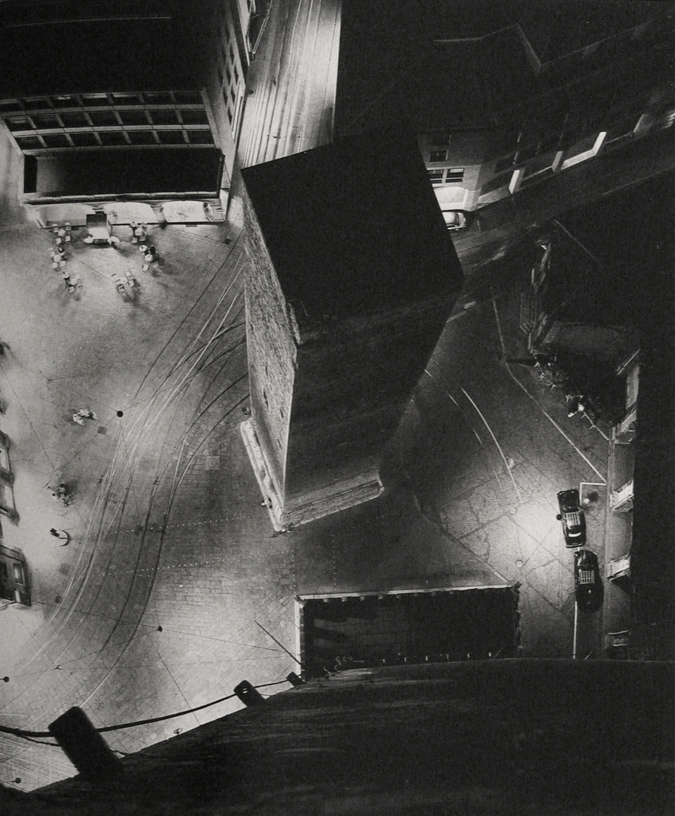 Nino Migliori, Night from Asinelli, 1958. One of the Asinelli towers photographed from above at night.