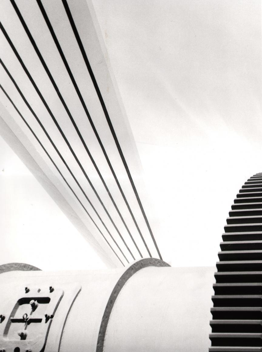 Nino Migliori, Milan Fair, 1954. Predominantly white architectural abstraction