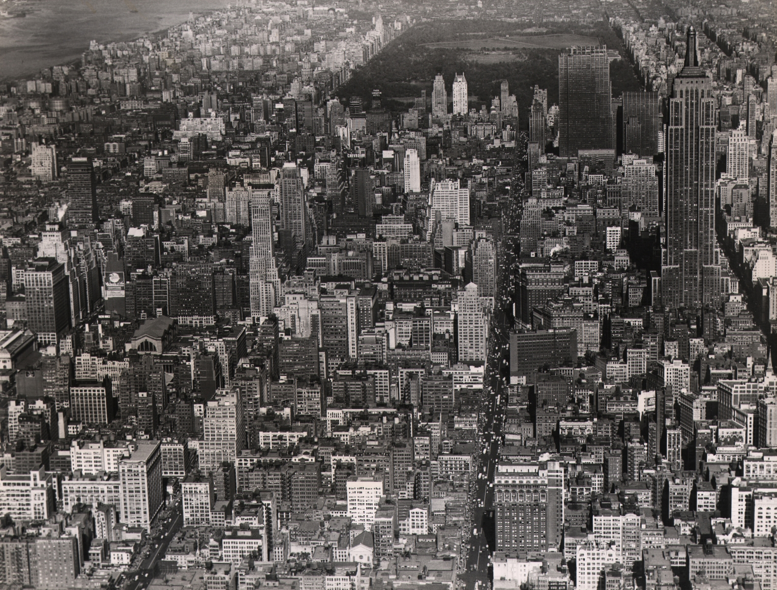37. Charles E. Rotkin, Aerial View of New York City, c. 1948. Aerial view in a horizontal composition with the Empire State Building in the top right of the frame.